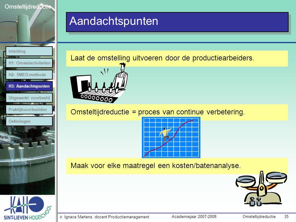 ir. Ignace Martens, docent Productiemanagement OmsteltijdreductieAcademiejaar 2007-2008 35 Omsteltijdreductie Aandachtspunten Laat de omstelling uitvo
