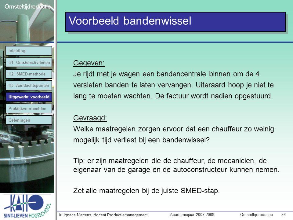 ir. Ignace Martens, docent Productiemanagement OmsteltijdreductieAcademiejaar 2007-2008 36 Omsteltijdreductie Voorbeeld bandenwissel Inleiding H1: Oms