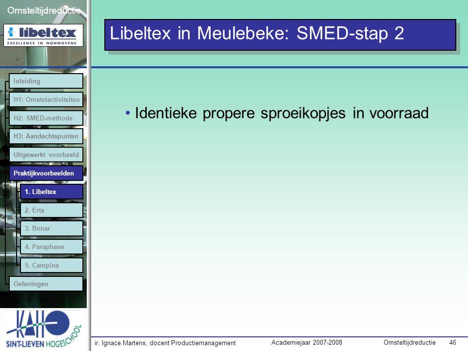 ir. Ignace Martens, docent Productiemanagement OmsteltijdreductieAcademiejaar 2007-2008 46 Omsteltijdreductie Identieke propere sproeikopjes in voorra