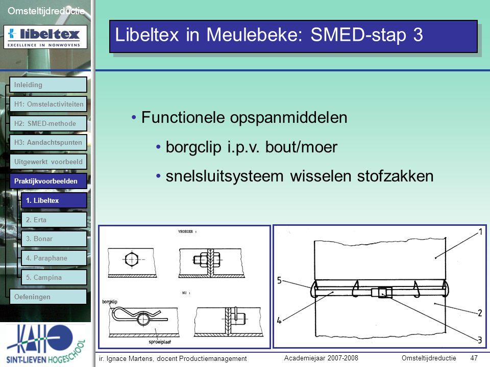 ir. Ignace Martens, docent Productiemanagement OmsteltijdreductieAcademiejaar 2007-2008 47 Omsteltijdreductie Functionele opspanmiddelen borgclip i.p.