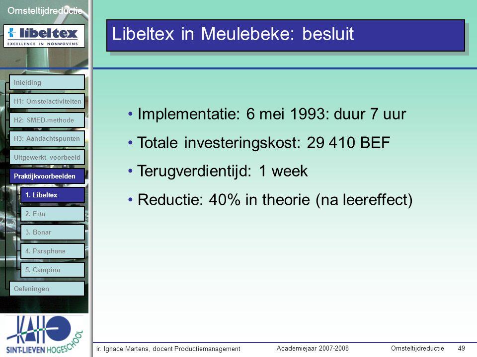 ir. Ignace Martens, docent Productiemanagement OmsteltijdreductieAcademiejaar 2007-2008 49 Omsteltijdreductie Implementatie: 6 mei 1993: duur 7 uur To