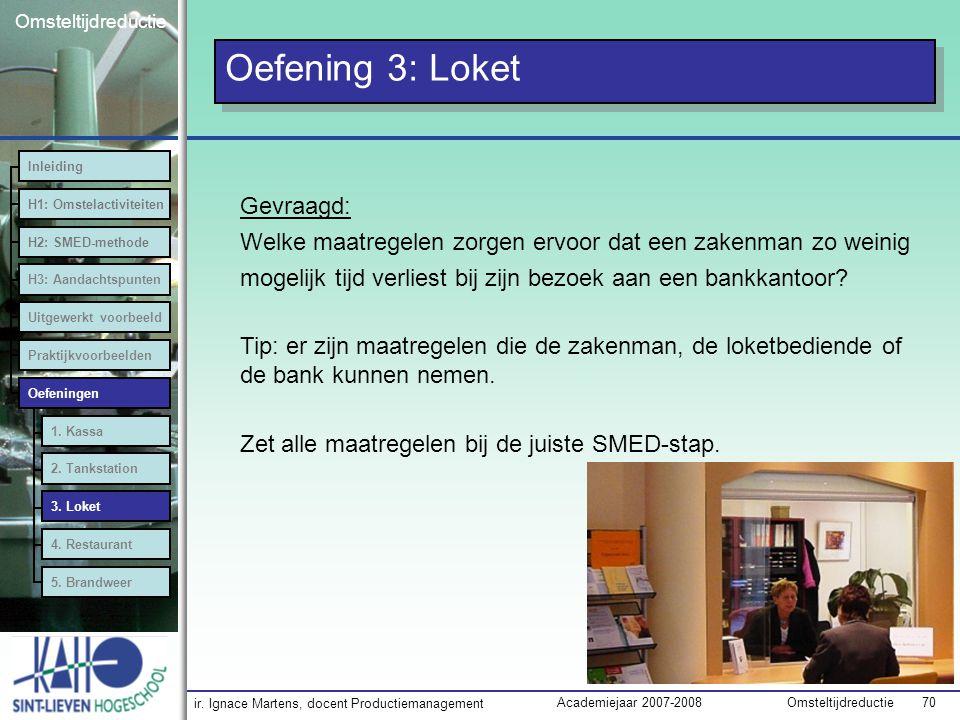 ir. Ignace Martens, docent Productiemanagement OmsteltijdreductieAcademiejaar 2007-2008 70 Omsteltijdreductie Oefening 3: Loket Inleiding H1: Omstelac