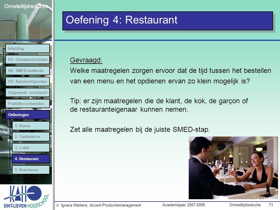 ir. Ignace Martens, docent Productiemanagement OmsteltijdreductieAcademiejaar 2007-2008 71 Omsteltijdreductie Oefening 4: Restaurant Inleiding H1: Oms