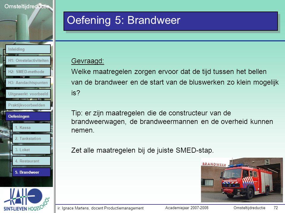 ir. Ignace Martens, docent Productiemanagement OmsteltijdreductieAcademiejaar 2007-2008 72 Omsteltijdreductie Oefening 5: Brandweer Inleiding H1: Omst