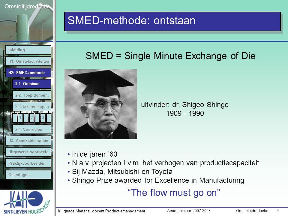 """ir. Ignace Martens, docent Productiemanagement OmsteltijdreductieAcademiejaar 2007-2008 9 Omsteltijdreductie SMED-methode: ontstaan """"The flow must go"""