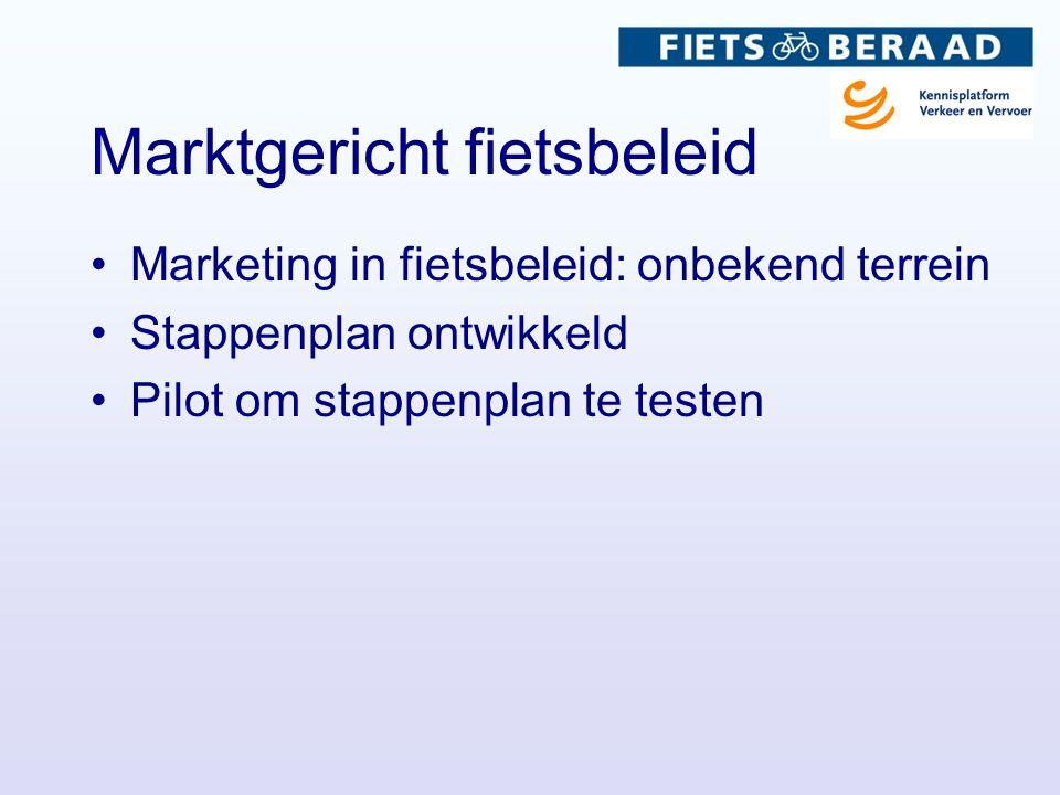 Marktgericht fietsbeleid Marketing in fietsbeleid: onbekend terrein Stappenplan ontwikkeld Pilot om stappenplan te testen