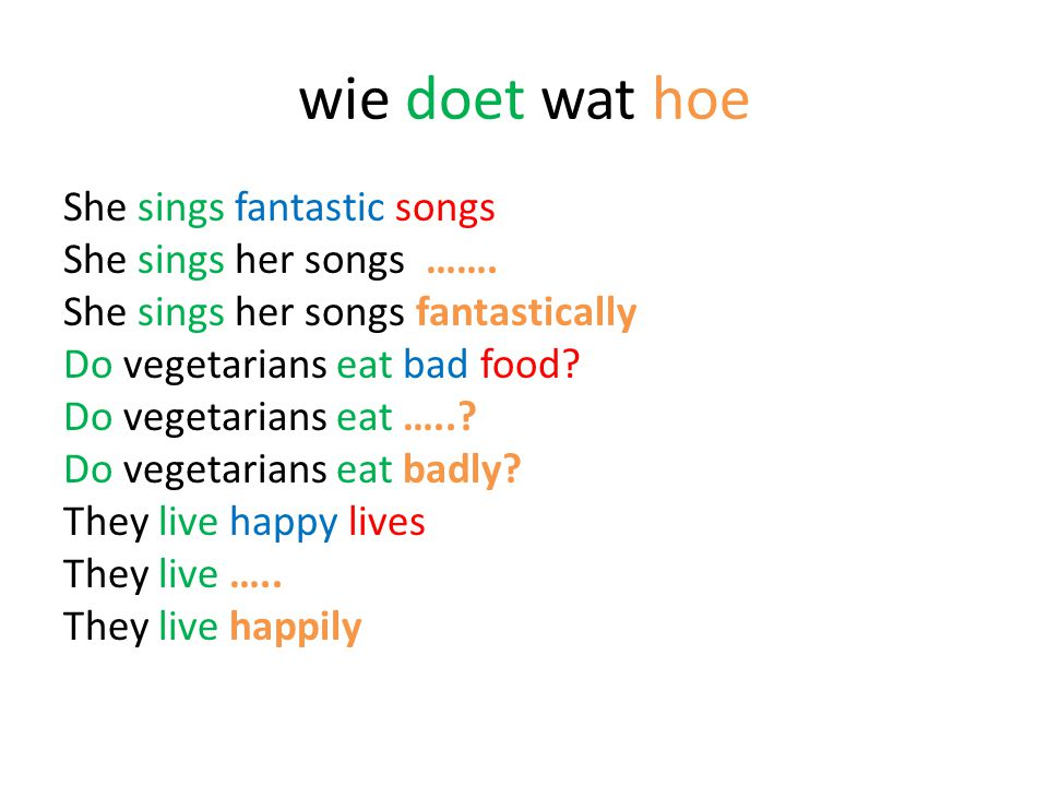 Meestal is het bijwoord …. + ly maar …… Easy Easily Basic Basically Horrible Horribly
