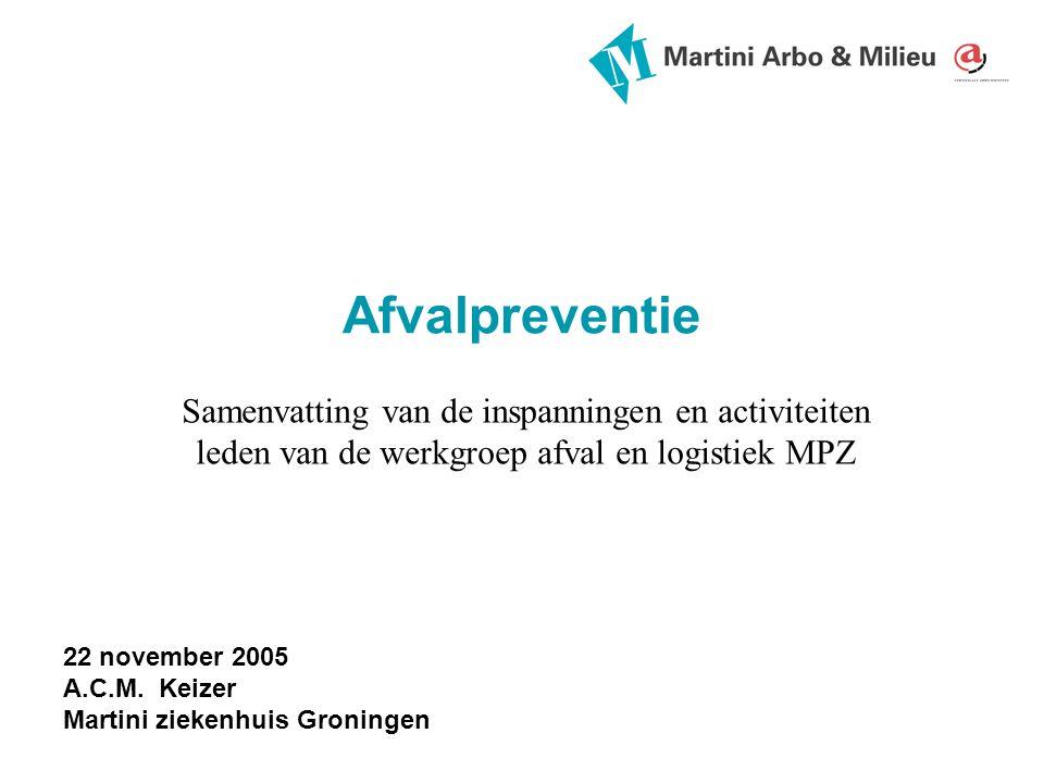 Afvalpreventie Samenvatting van de inspanningen en activiteiten leden van de werkgroep afval en logistiek MPZ 22 november 2005 A.C.M.