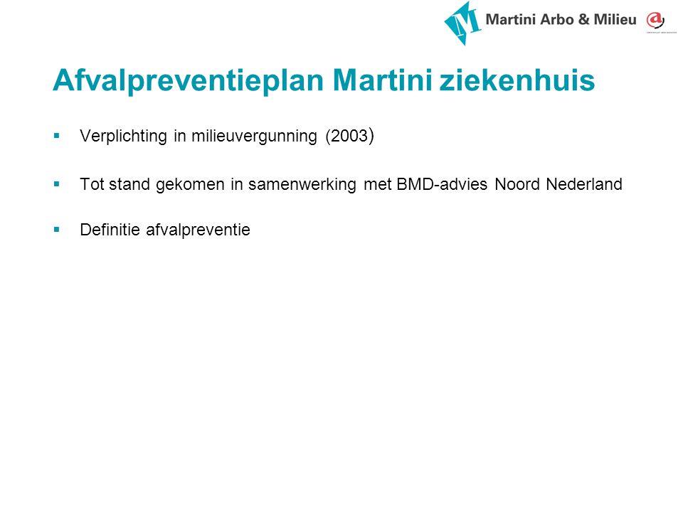 Afvalpreventieplan Martini ziekenhuis  Verplichting in milieuvergunning (2003 )  Tot stand gekomen in samenwerking met BMD-advies Noord Nederland  Definitie afvalpreventie