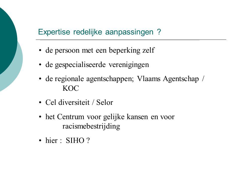 Expertise redelijke aanpassingen ? de persoon met een beperking zelf de gespecialiseerde verenigingen de regionale agentschappen; Vlaams Agentschap /