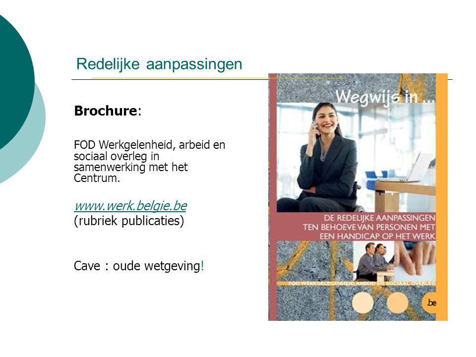 Redelijke aanpassingen Brochure: FOD Werkgelenheid, arbeid en sociaal overleg in samenwerking met het Centrum. www.werk.belgie.be (rubriek publicaties