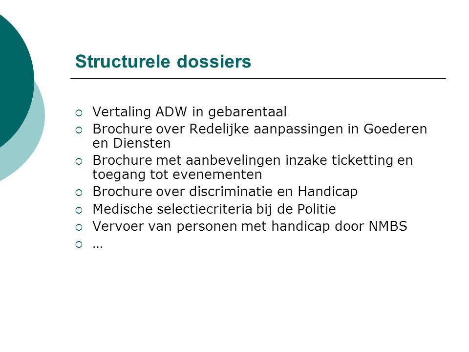 Structurele dossiers  Vertaling ADW in gebarentaal  Brochure over Redelijke aanpassingen in Goederen en Diensten  Brochure met aanbevelingen inzake