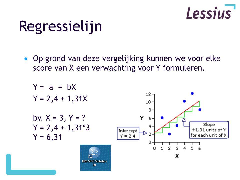 Regressielijn  Op grond van deze vergelijking kunnen we voor elke score van X een verwachting voor Y formuleren. Y = a + bX Y = 2,4 + 1,31X bv. X = 3