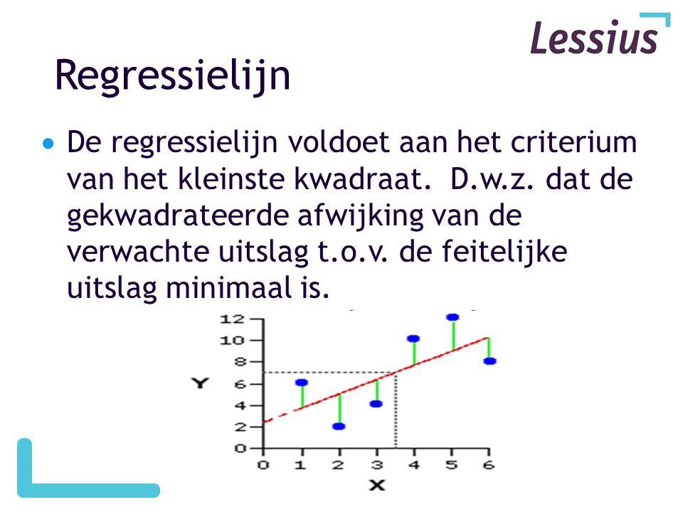 Regressielijn  De regressielijn voldoet aan het criterium van het kleinste kwadraat. D.w.z. dat de gekwadrateerde afwijking van de verwachte uitslag
