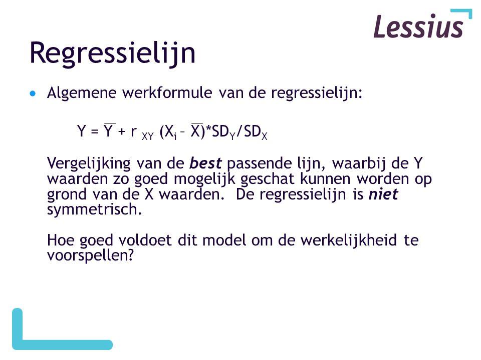 Regressielijn  Algemene werkformule van de regressielijn: Y = Y + r XY (X i – X)*SD Y /SD X Vergelijking van de best passende lijn, waarbij de Y waarden zo goed mogelijk geschat kunnen worden op grond van de X waarden.