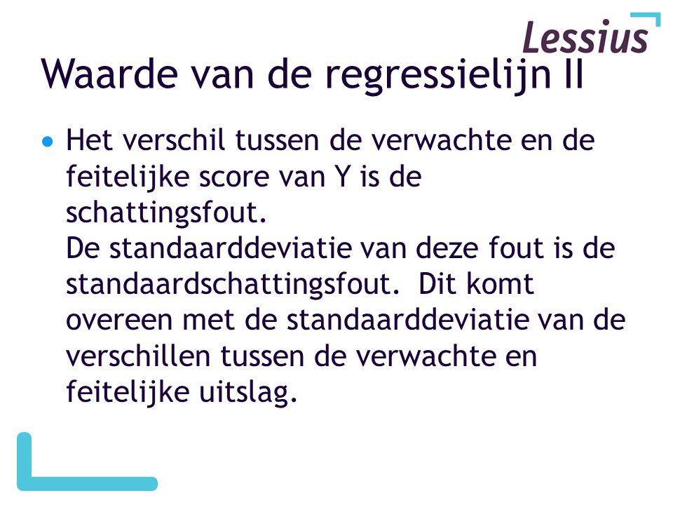 Waarde van de regressielijn II  Het verschil tussen de verwachte en de feitelijke score van Y is de schattingsfout. De standaarddeviatie van deze fou