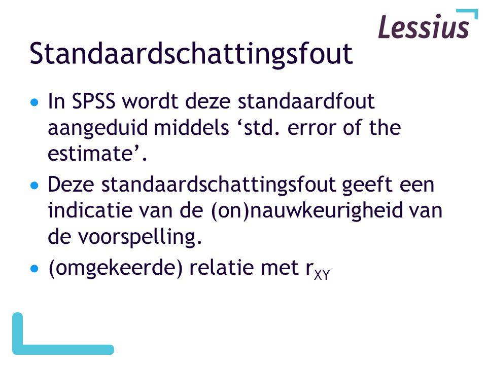 Standaardschattingsfout  In SPSS wordt deze standaardfout aangeduid middels 'std. error of the estimate'.  Deze standaardschattingsfout geeft een in