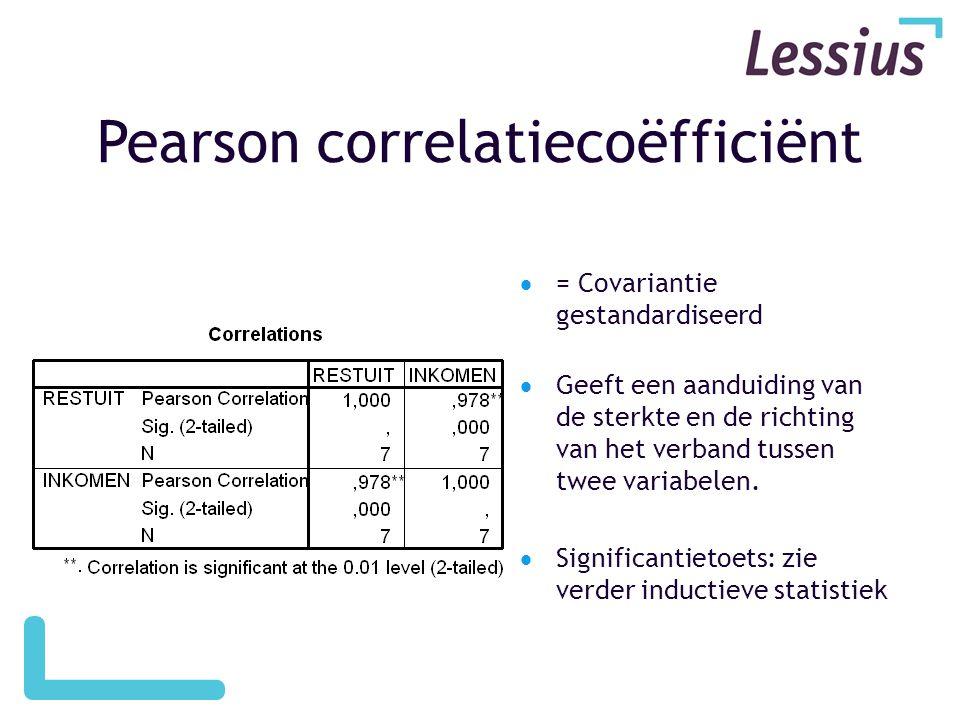 Pearson correlatiecoëfficiënt  = Covariantie gestandardiseerd  Geeft een aanduiding van de sterkte en de richting van het verband tussen twee variabelen.