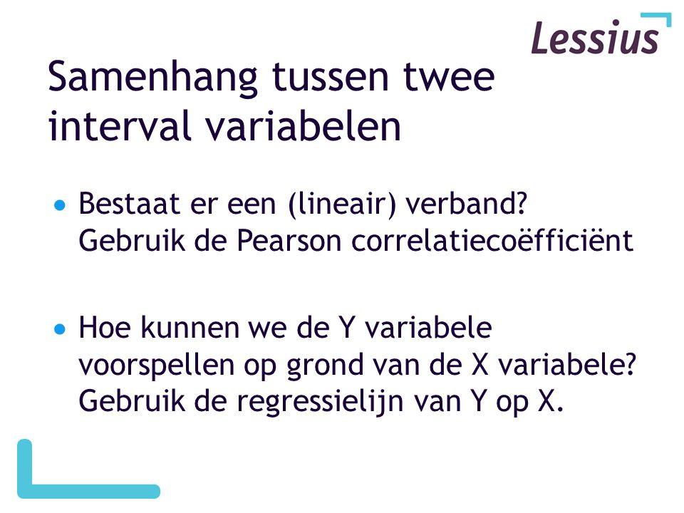 Samenhang tussen twee interval variabelen  Bestaat er een (lineair) verband? Gebruik de Pearson correlatiecoëfficiënt  Hoe kunnen we de Y variabele