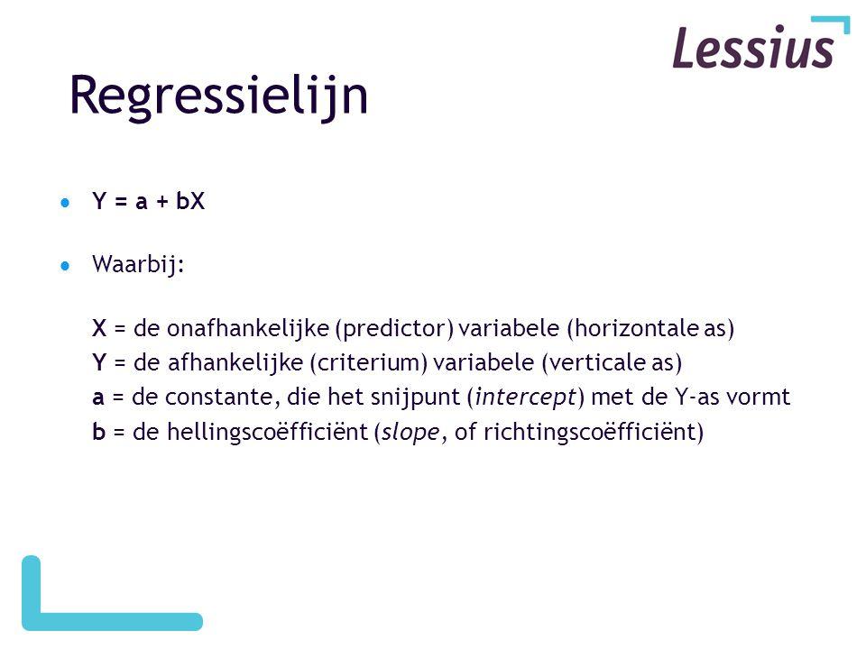 Regressielijn  Y = a + bX  Waarbij: X = de onafhankelijke (predictor) variabele (horizontale as) Y = de afhankelijke (criterium) variabele (verticale as) a = de constante, die het snijpunt (intercept) met de Y-as vormt b = de hellingscoëfficiënt (slope, of richtingscoëfficiënt)