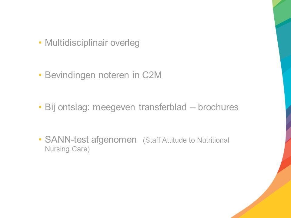 Multidisciplinair overleg Bevindingen noteren in C2M Bij ontslag: meegeven transferblad – brochures SANN-test afgenomen (Staff Attitude to Nutritional