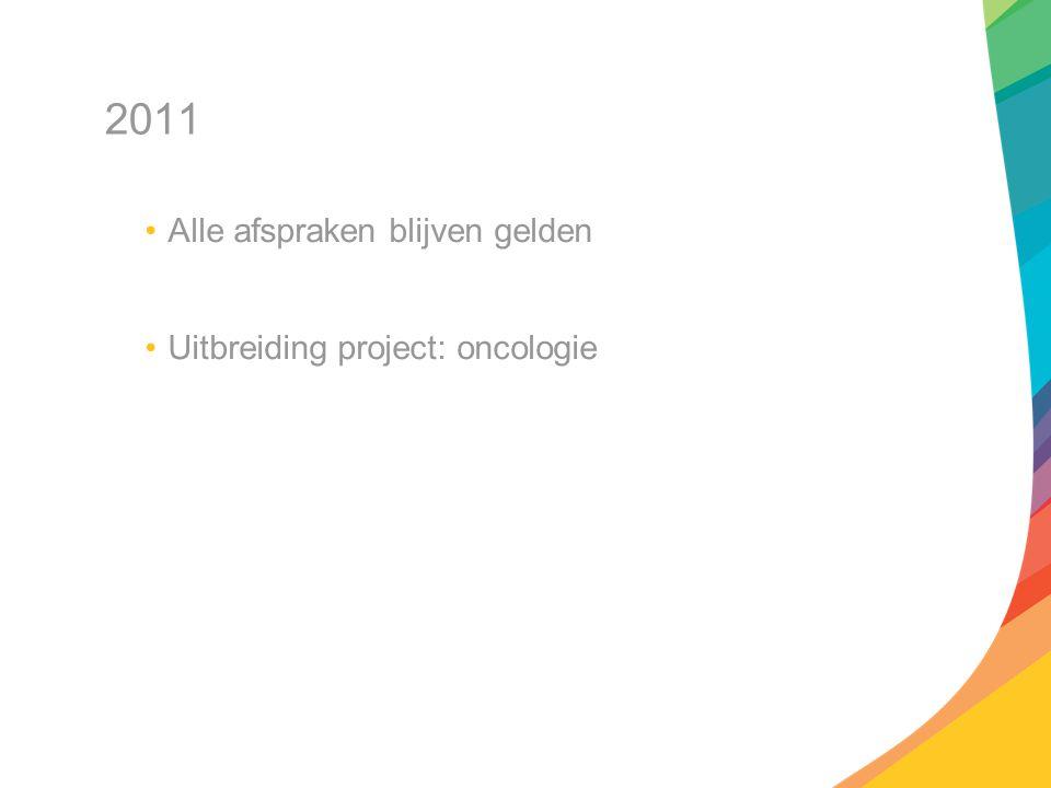 2011 Alle afspraken blijven gelden Uitbreiding project: oncologie