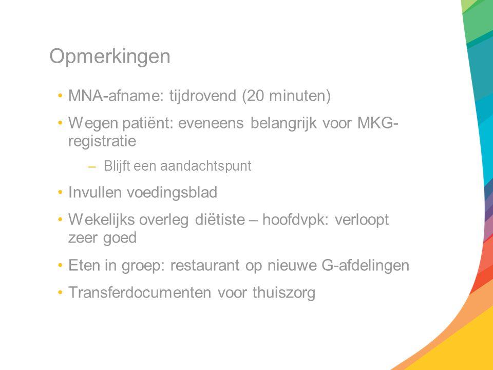 Opmerkingen MNA-afname: tijdrovend (20 minuten) Wegen patiënt: eveneens belangrijk voor MKG- registratie –Blijft een aandachtspunt Invullen voedingsbl