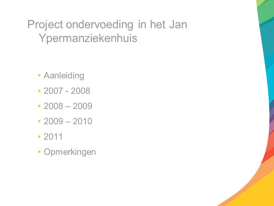 Project ondervoeding in het Jan Ypermanziekenhuis Aanleiding 2007 - 2008 2008 – 2009 2009 – 2010 2011 Opmerkingen