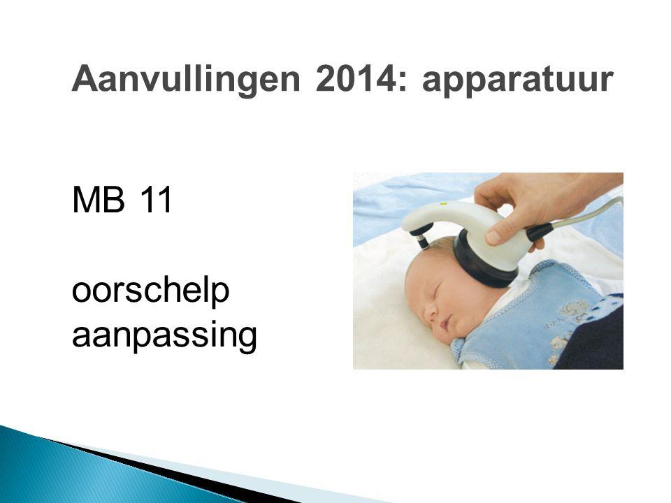 Aanvullingen 2014: apparatuur MB 11 oorschelp aanpassing