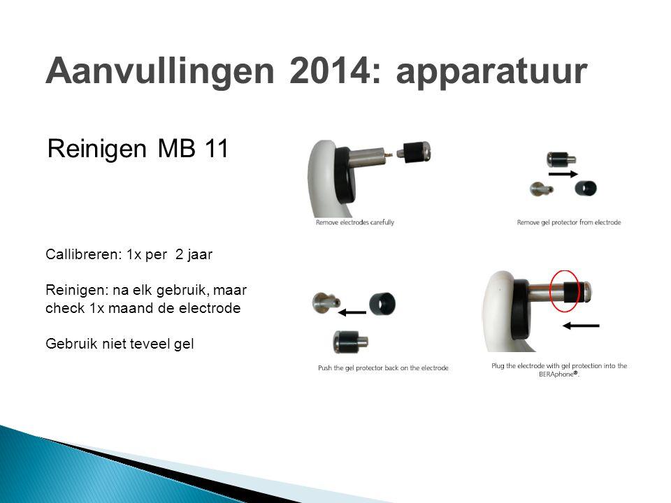 Reinigen MB 11 Callibreren: 1x per 2 jaar Reinigen: na elk gebruik, maar check 1x maand de electrode Gebruik niet teveel gel Aanvullingen 2014: appara