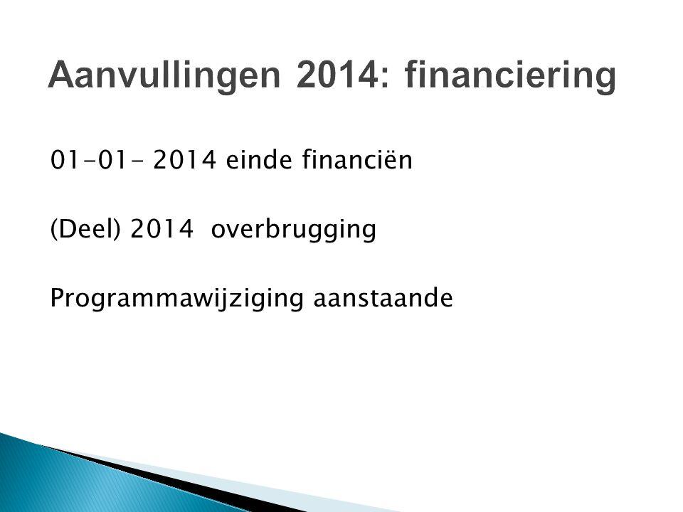 01-01- 2014 einde financiën (Deel) 2014 overbrugging Programmawijziging aanstaande