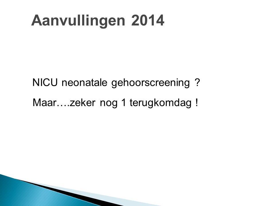 Maar….zeker nog 1 terugkomdag ! NICU neonatale gehoorscreening ? Aanvullingen 2014