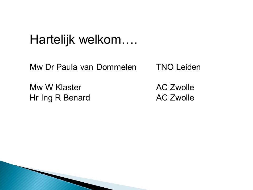 Hartelijk welkom…. Mw Dr Paula van DommelenTNO Leiden Mw W KlasterAC Zwolle Hr Ing R BenardAC Zwolle