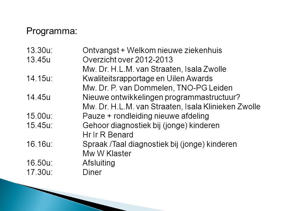 Programma: 13.30u:Ontvangst + Welkom nieuwe ziekenhuis 13.45uOverzicht over 2012-2013 Mw. Dr. H.L.M. van Straaten, Isala Zwolle 14.15u:Kwaliteitsrappo