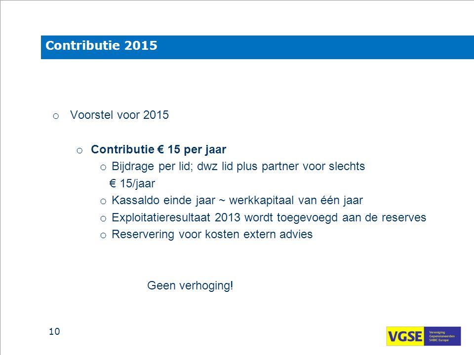 Contributie 2015 o Voorstel voor 2015 o Contributie € 15 per jaar o Bijdrage per lid; dwz lid plus partner voor slechts € 15/jaar o Kassaldo einde jaa