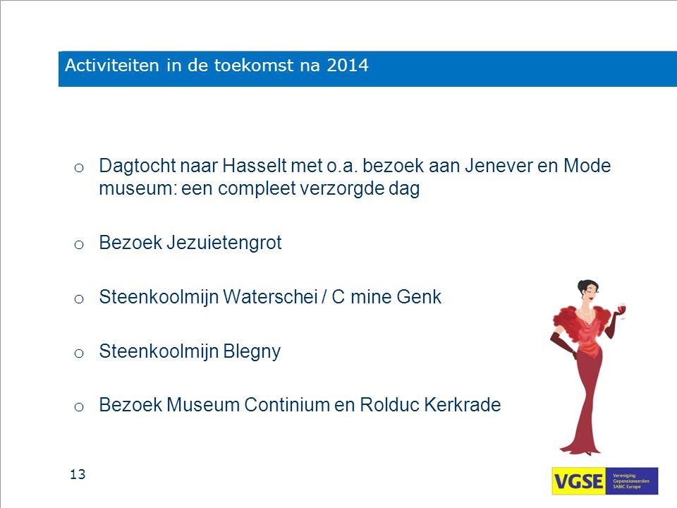 Activiteiten in de toekomst na 2014 o Dagtocht naar Hasselt met o.a. bezoek aan Jenever en Mode museum: een compleet verzorgde dag o Bezoek Jezuieteng