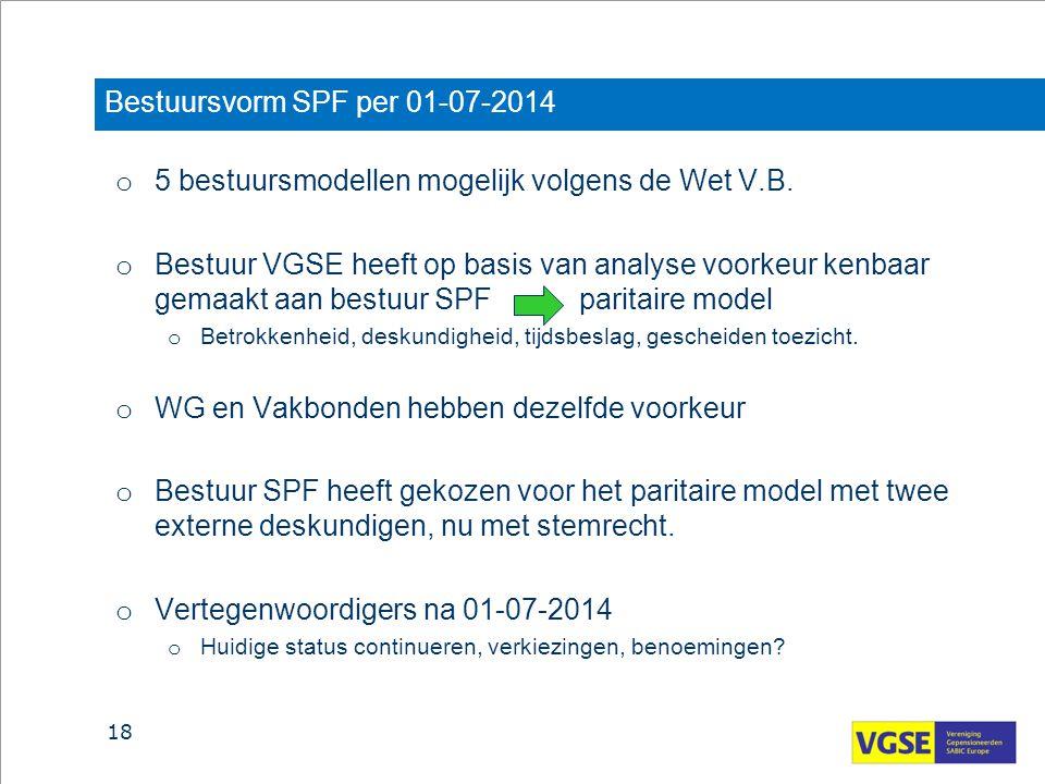 Bestuursvorm SPF per 01-07-2014 o 5 bestuursmodellen mogelijk volgens de Wet V.B. o Bestuur VGSE heeft op basis van analyse voorkeur kenbaar gemaakt a