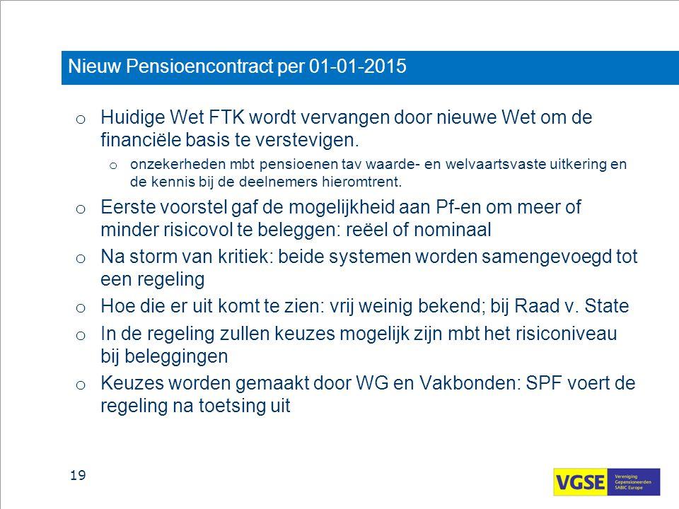 Nieuw Pensioencontract per 01-01-2015 o Huidige Wet FTK wordt vervangen door nieuwe Wet om de financiële basis te verstevigen. o onzekerheden mbt pens