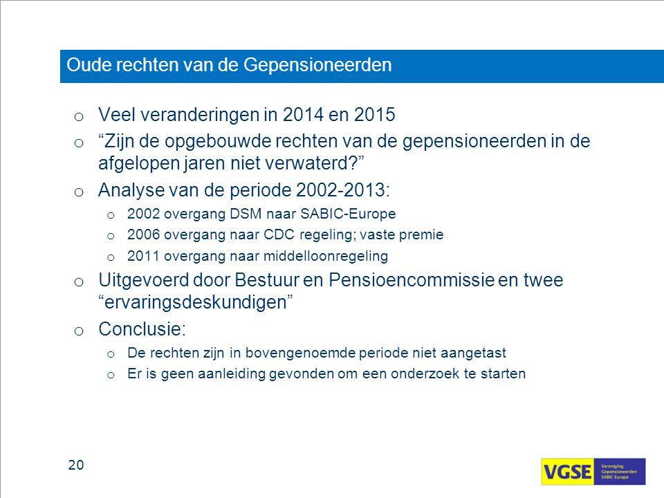 """Oude rechten van de Gepensioneerden o Veel veranderingen in 2014 en 2015 o """"Zijn de opgebouwde rechten van de gepensioneerden in de afgelopen jaren ni"""