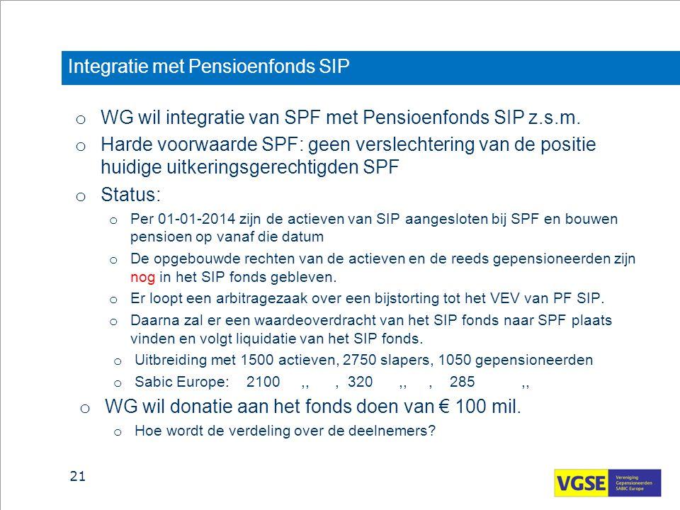 Integratie met Pensioenfonds SIP o WG wil integratie van SPF met Pensioenfonds SIP z.s.m. o Harde voorwaarde SPF: geen verslechtering van de positie h