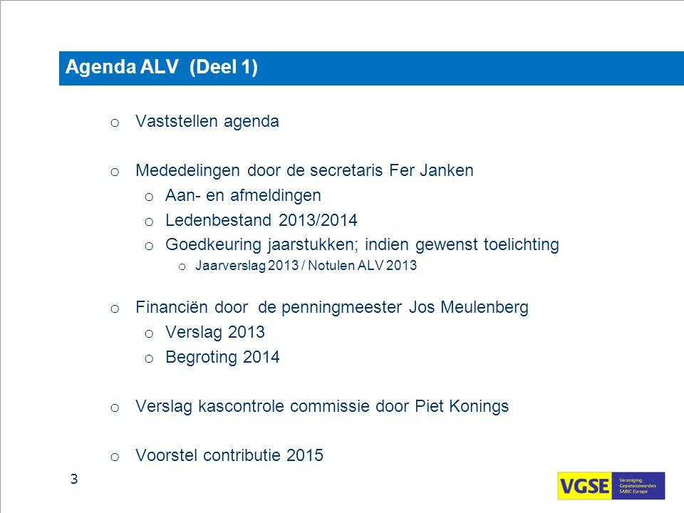 Agenda ALV (Deel 1) o Vaststellen agenda o Mededelingen door de secretaris Fer Janken o Aan- en afmeldingen o Ledenbestand 2013/2014 o Goedkeuring jaa