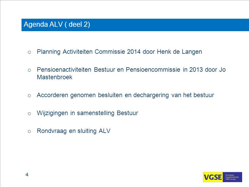 Agenda ALV ( deel 2) o Planning Activiteiten Commissie 2014 door Henk de Langen o Pensioenactiviteiten Bestuur en Pensioencommissie in 2013 door Jo Ma
