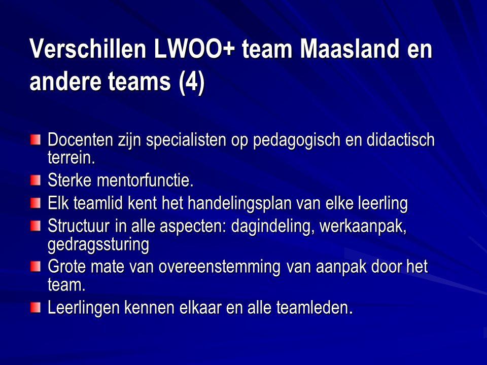 Verschillen LWOO+ team Maasland en andere teams (4) Docenten zijn specialisten op pedagogisch en didactisch terrein.