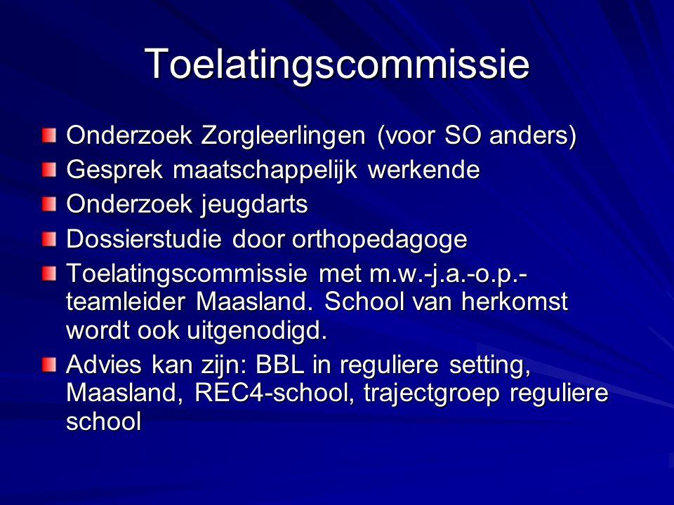 Toelatingscommissie Onderzoek Zorgleerlingen (voor SO anders) Gesprek maatschappelijk werkende Onderzoek jeugdarts Dossierstudie door orthopedagoge Toelatingscommissie met m.w.-j.a.-o.p.- teamleider Maasland.