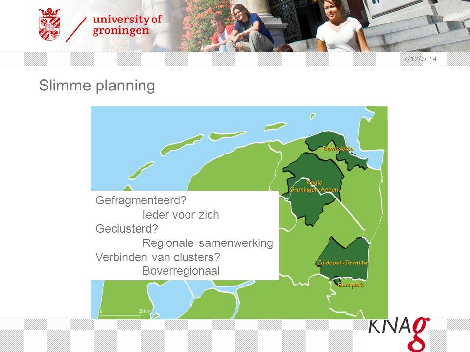 7/12/2014 Slimme planning Gefragmenteerd? Ieder voor zich Geclusterd? Regionale samenwerking Verbinden van clusters? Boverregionaal