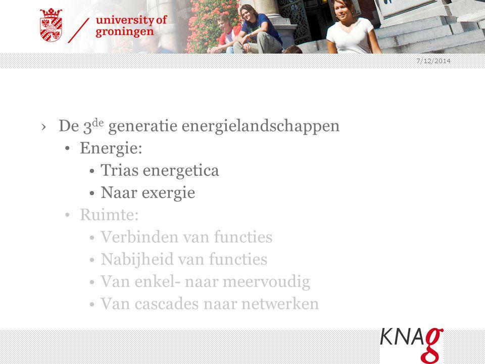 7/12/2014 ›De 3 de generatie energielandschappen Energie: Trias energetica Naar exergie Ruimte: Verbinden van functies Nabijheid van functies Van enke