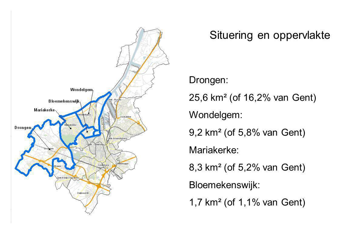 Drongen: 25,6 km² (of 16,2% van Gent) Wondelgem: 9,2 km² (of 5,8% van Gent) Mariakerke: 8,3 km² (of 5,2% van Gent) Bloemekenswijk: 1,7 km² (of 1,1% van Gent) Situering en oppervlakte