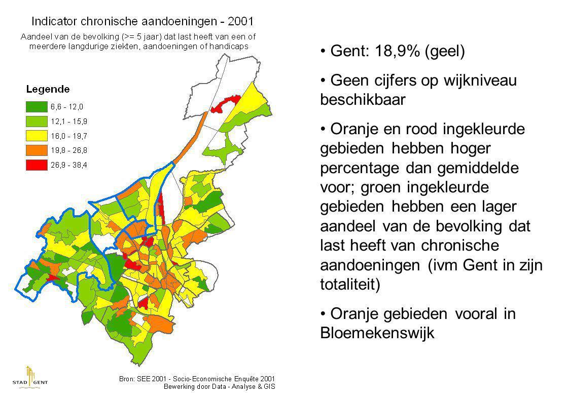 Gent: 18,9% (geel) Geen cijfers op wijkniveau beschikbaar Oranje en rood ingekleurde gebieden hebben hoger percentage dan gemiddelde voor; groen ingekleurde gebieden hebben een lager aandeel van de bevolking dat last heeft van chronische aandoeningen (ivm Gent in zijn totaliteit) Oranje gebieden vooral in Bloemekenswijk