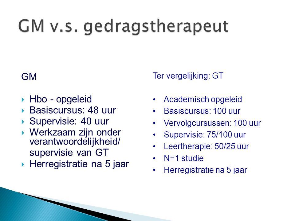GM  Hbo - opgeleid  Basiscursus: 48 uur  Supervisie: 40 uur  Werkzaam zijn onder verantwoordelijkheid/ supervisie van GT  Herregistratie na 5 jaa