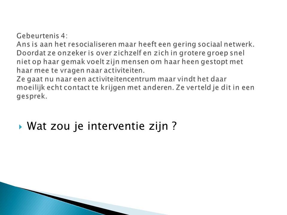 Gebeurtenis 4: Ans is aan het resocialiseren maar heeft een gering sociaal netwerk. Doordat ze onzeker is over zichzelf en zich in grotere groep snel
